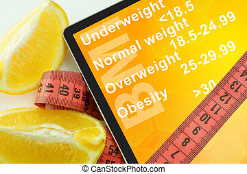 Body mass index BMI - Tablet with words Body mass index BMI...