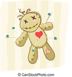 Voodoo doll - Old african symbol of death Vector...