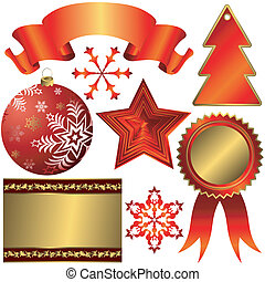 Collection of red elements for christmas design