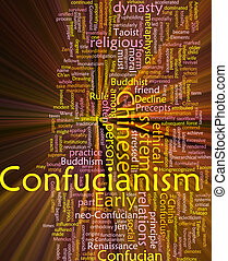 Confucianism word cloud glowing - Word cloud concept...