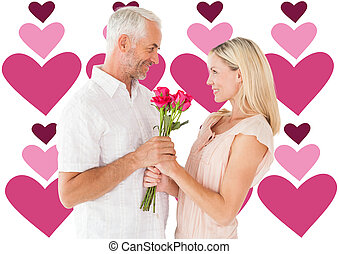 Composite image of affectionate man offering his partner...