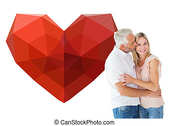 Composite image of affectionate man kissing his wife on the chee