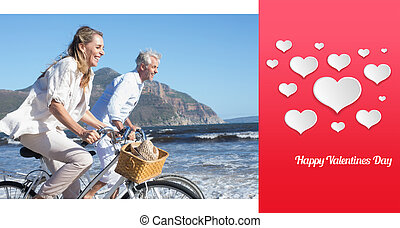 Composite image of smiling couple riding their bikes on the...
