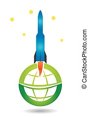 Space shuttle with abstract globe design