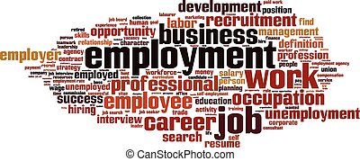 Employment word cloud concept. Vector illustration