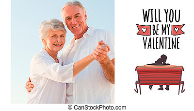 Composite image of senior couple dancing on the beach