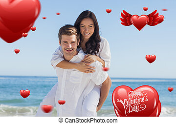 Composite image of happy couple smiling at camera - Happy...