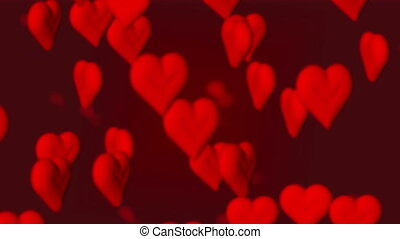 Hearts - Many blurred earths flies on a red background: a...