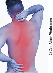Rear view of shirtless man with neck pain over white...