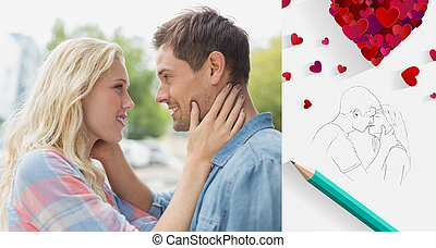 Composite image of hip young couple smiling at each other -...
