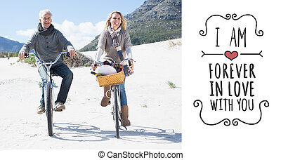 Composite image of carefree couple going for a bike ride and...