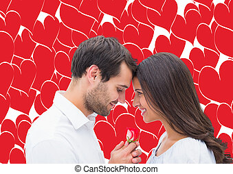 Composite image of handsome man offering his girlfriend a...