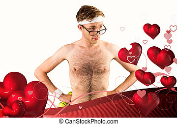 Composite image of geeky shirtless - Geeky shirtless hipster...
