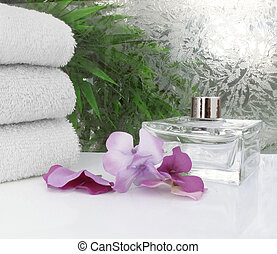 Spa with flower petals - Clean white spa scene with flower...