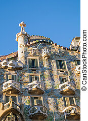 Casa Batllo in Barcelona - The facade of the famous Casa...