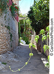 greek village - Narrow road and traditional houses in Keri...
