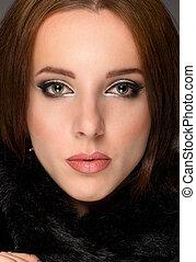 Close up face portrait of a serene brunette - Close up face...