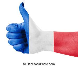 Flag of France over female's hand