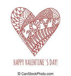 Happy Valentine's Day greeting card with hand drawn doodle heart