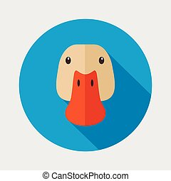 Duck flat icon with long shadow, eps 10