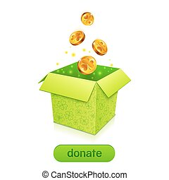 Green donation box with golden fallen coins and button