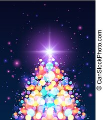 Bright colors bokeh light effect Christmas tree - Bright...