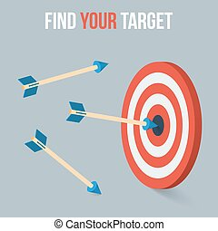 Vector target concept in flat axonometric style - Vector...