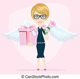 Female angel holding a bouquet of flowers and gifts with beautiful wings