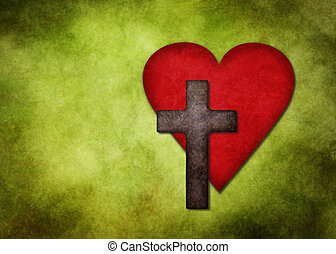 Heart and cross - Christian cross and heart on a green...