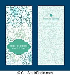 藍色, 集合, 藝術, 垂直, 圖案, 框架, 問候, 矢量, 邀請, 卡片, 線, 花