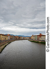 Embankment of the River Arno in the Italian City of Pisa
