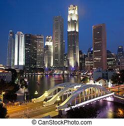 Singapore night scene framed by Elgin Bridge and River -...