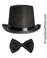 black felt hat and bow tie isolated on white background...