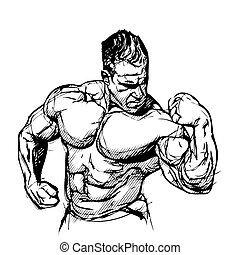 Bodybuilder vector illustration on white