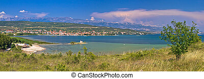 Posedarje bay and Velebit mountain panoramic view, Dalmatia,...