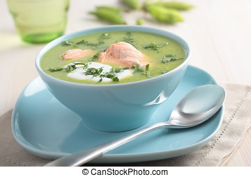 Cream of green pea soup with salmon