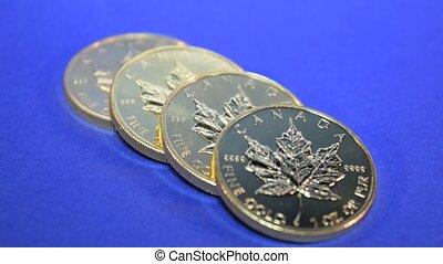 Silver Maple Leaf, Bullion Coin Row - Row of multiple...