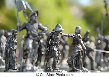 tin toy figures - group of some tin toy soldier figures
