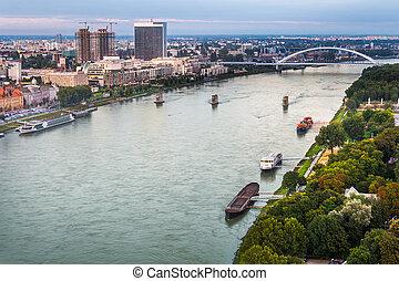 Danube River in Bratislava, Slovakia - Danube River with...