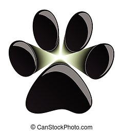 Paw Print - Illustration of black paws on a white...