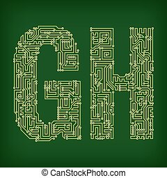PCB symbols - PCB letter and digits. Vector illustration.