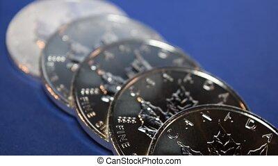 Silver Bullion Coins in a Row - Silver bullion coins,...