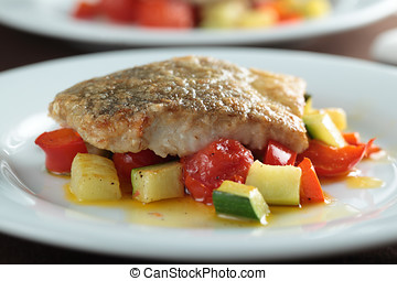 Pollock fillet with vegetables