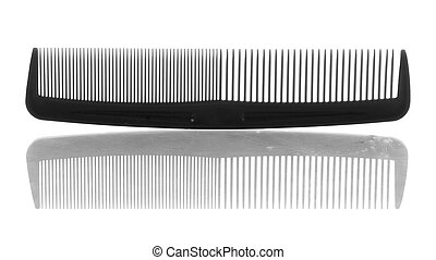 black plastic hair comb with reflection on white background