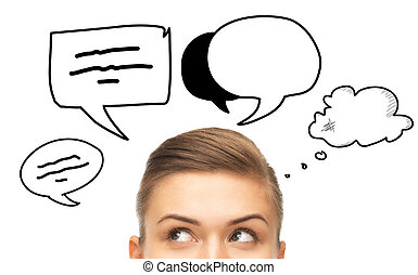 close up of woman looking to text bubbles - communication,...