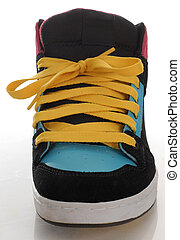trendy style of skateboarding shoe with reflection on white background