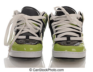 trendy style of skateboarding shoes with reflection on white background