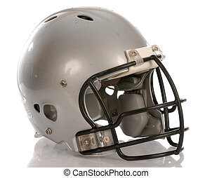 grey football helmet with reflection on white background