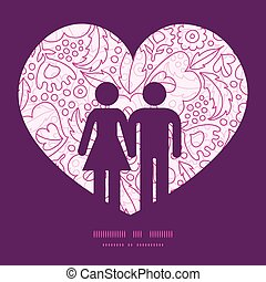 Vector pink flowers lineart couple in love silhouettes frame pattern invitation greeting card template