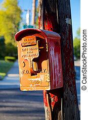 NYC Fire Alarm Box - BAYSIDE, NY, USA - SEPTEMBER 29, 2013:...